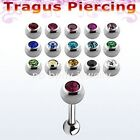 "1pc. 16g, 14g~1/4""  (6mm) 316L Steel Tragus / Helix Barbell with CZ Gem ball"