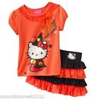 NWT HELLO KITTY Girl's HALLOWEEN Graphic Top & Tutu Scooter Set Orange 4T NEW