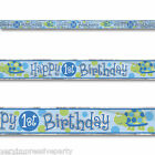 1ST BIRTHDAY PARTY BOYS TURTLE  FOIL BANNER (CUTS INTO 3)