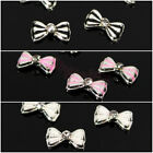 10pcs 3D Alloy Striped Bow Tie Rhinestone Nail Art Phone Slices DIY Decoration