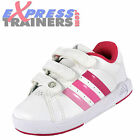 Adidas Infants BTS Class II CF Velcro Trainers White Pink * AUTHENTIC *