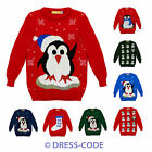 NEW CHILDRENS KIDS WINTER JUNIOR XMAS SNOWMAN PENGUIN JUMPER KNITTED SWEATER