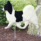 Papillon Wood Carved Dog Figure Yard Garden Stake. Home Decor Dog Products