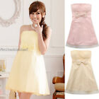 Sweet Mesh Strapless Bow Knot Zipper Smocked Cocktail Party Mini Dress SJ9712