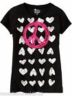 NWT OLD NAVY Girls PEACE & HEART Graphic Tee Black XS (5) NEW