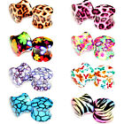 Multiple Sizes Leopard Zebra Cherry Blossom Double Flare Saddle Flesh Ear Plugs