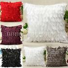 Elegant Raised Leaf Satin Cushion Cover Home Decor Bed Sofa Throw Pillow Case