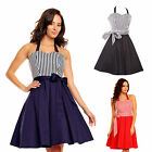Vintage Rockabilly Flared 50's Sailor Stripe Party Cocktail Dress UK 8 to 24