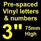 "QTY of: 11 x 3""  75mm HIGH STICK-ON  SELF ADHESIVE VINYL LETTERS & NUMBERS"