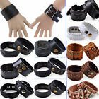 Great Punk Men Women Wide Genuine Leather Belt Bracelet Cuff Wristband Bangle