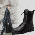 Classic Girls' Womens Combat Ankle Motorcycle Boots Flat Heels Shoes Biker boots