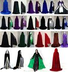 Stock MEDIEVAL Halloween Velvet Hooded Cloak Wedding Cape Coat Shawl Shawl S-XXL