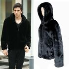 Fashion Men's Boys Faux Mink Fur OverCoat Hooded Jacket Zip Coat Greatcoat Wrap