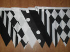 New Handmade Fabric Bunting Black & White Designs 12ft or 40ft Party~Celebration