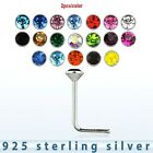 2pcs. 22g~2.5mm Flat C.Z. 925 Sterling Silver L-Shaped Nose Stud (Choose Color)