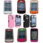 Multi Color Impact Hybrid Body Armor Rubber Silicone Cover Case For iPhone 4 4S