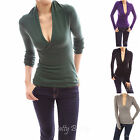 PattyBoutik Stand Collar Deep V Neck Crossover Empire Waist Pullover Knit Jumper
