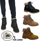 LADIES WINTER SHOES WOMENS SNOW FUR LINED ANKLE BOOTS FLAT LOW HEEL SIZES UK 3-8