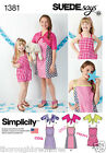 Simplicity 1381 Sewing Pattern Playsuit Pull on Dress Contrast Option Girls 3-14