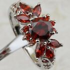 Size 5.5 6.5 7.5 8.5 Super Garnet Red Gems Jewelry Gold Filled Lady Ring K2072