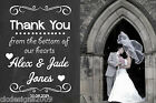 Vintage Chalkboard Style Personalised Photo Wedding Thank You Cards & Envelopes