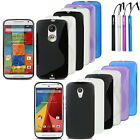 Flexible TPU Gel Cover Case+Stylus For Motorola Moto X / G 2nd Gen 2014 Version