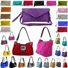 Ladies Real Italian Suede Leather Buckle Envelope Shoulder Clutch Tote Hand Bag