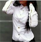 Women Fashion Slim Long Sleeve Shirt Zip Sleeves Blouse 3 Colors S-XL