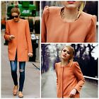 Celebrity! Zara Woman Coral Coat Jacket With Gathering On The Shoulder New
