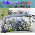 300TC Hydrangea Reversible Quilt Cover Set 100% Cotton - QUEEN KING