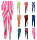 New Sexy Womens Stretch Colorful Striped Skinny Slim Seamless Leggings Pants