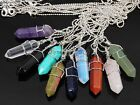 Gemstone Hexagonal Pointed Reiki Chakra Wire Wrap Pendant Silver Chain Necklace