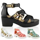 NEW LADIES WOMENS CHUNKY GLADIATOR CUT OUT STRAPPY SANDALS BLOCK HEEL PUNK SIZE