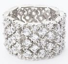 "Eternity Band Ring Flexible-Silvertone-1/2"" Wide-4 Rows of SHINY CZ's-Sz Select"