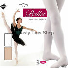 Silky Ballet Tights Girls Full Footed Dance White/Pink 3 4 5 6 7 8 9 10 11 Years