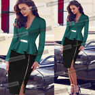 Womens Elegant Colorblock Peplum Zip Tunic Work Business Party Pencil Dress 141