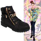 WOMENS LADIES GIRLS FLAT HEEL HIGH TOPS CHAIN ZIP TRAINERS ANKLE BOOTS SHOES