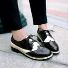 Retro Womens Brogue Chelsea Hollow Lace Up Mary Janes Oxfords Shoes Plus Size