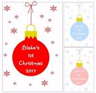 PERSONALISED BABYS 1ST CHRISTMAS BABIES FIRST XMAS CARD ANY NAME BAUBLE