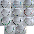 variations 8mm  stone 7-8mm white Natural freshwater pearl classic bib necklace