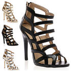 New Ladies Strappy Womens Slim Stiletto High Heel Party Sandals Shoes Size 5-10