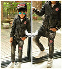 2096 Boutique Handsome 2Ps Outfits Sets Denim Jacket + Saggy Pants Strechy 6-7T