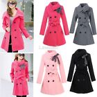 Womens Double Breasted Trench Winter Wool Coat Girl's Long Jacket Coat LM