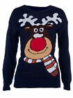 New Ladies Womens Navy Reindeer Christmas Knitwear Jumper