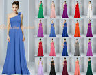 One Shoulder Bridesmaid Party Dresses Prom Evening Formal Cocktail Chiffon 6-26