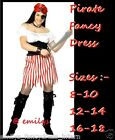 LADIES PIRATE BUCCANEER CARRIBEAN FANCY DRESS COSTUME 8 10 12 14 16 18