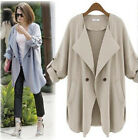 HOT Women's Casual Blazer Long Jacket 3/4 Sleeve Trench Coat Outerwear Surcoat