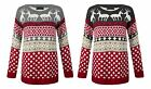 Womens Christmas Novelty Reindeer Fairisle Snowflake Knitted Xmas Jumper Sweater