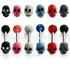 "1pc. 14GA~5/8"" (16mm) 316L Steel Tongue Ring Barbell with Acrylic Painted Skull"