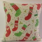VINTAGE INSPIRED CHRISTMAS STOCKING PATTERN XMAS SCATTER COVERS CUSHION COVERS